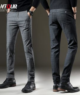 Men Casual Elastic Long Trousers Work Pant